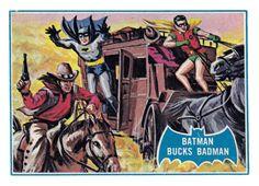 Batman bubble-gum card: Batman Bucks Badman