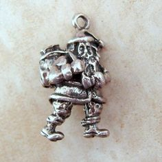 Santa Claus Christmas Solid Sterling Silver Vintage Bracelet Charm by Charmcrazey on Etsy