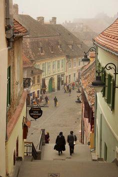 Una ciudad de Transilvania sajona de Sibiu, Rumania