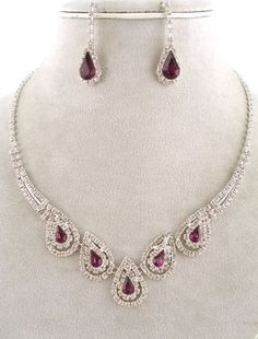 Fashion Jewelry ~ Amethyst Crystal Gem Accented with Clear Crystals Necklace and Earrings Set (Style#:s11727 Amy)