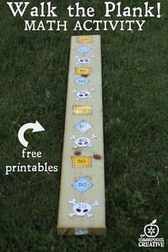 pirate math activity-walk the plank-skip counting by tens with free pirate theme printables