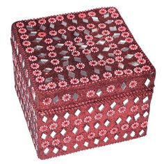Red Handmade Jewelry Box in Lac