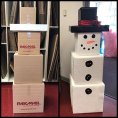 Snowman made from cardboard boxes! Easy Peasy and SO CUTE! perfect Christmas decor