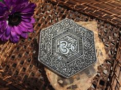 Om Aluminum Stick / Cone Incense Burner Disc by OpalMoonTreasures