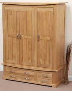 Complete your bedroom with our solid wood wardrobes in oak, mango, and painted styles. Double and triple wardrobes available, always made to last. Oak Furniture Land, Hardwood Furniture, Wooden Furniture, Solid Wood Wardrobes, Armoire, Triple Wardrobe, Wooden Wardrobe, Wardrobe Design, Bars For Home
