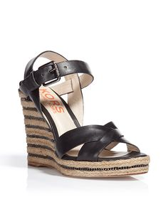 I mean, come on...so gorgeous! KORS Black Wedges Sandals