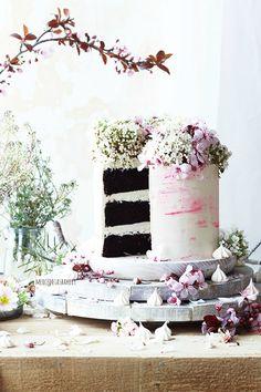 ... chocolate cake with swiss meringue buttercream ...