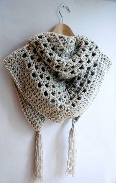 Crochet triangular chunky shawl, cowl, scarf, KristisTwist