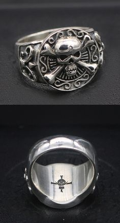 Mens Sterling Silver Pirate Skull Ring $44