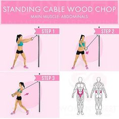 Standing cable wood chop. Main muscle: abdominals