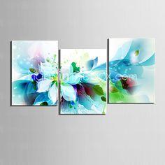 Leinwand-Set von 3 modernen abstrakten blauen Blumen Leinwand Druck fertig zum Aufhängen 2016 - €41.74