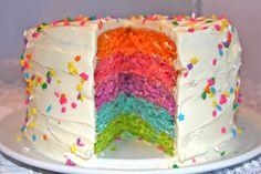 Rainbow cake - with recipe in Norwegian Yummy Cakes, Vanilla Cake, Cake Recipes, Cupcake, Birthday Cake, Baking, Food, Rainbow, Cake Ideas