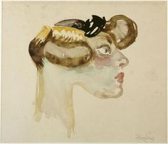 Frantisek Kupka (Czech, 1871 - 1957) Profil of Gigolette, 1908-1909 Watercolor on paper Musée national d'art moderne, Paris, France