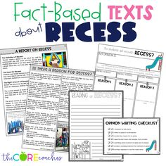 Fact based texts about recess. Differentiated for upper elementary students.