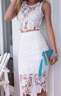 Really like this! Maybe Robyn could make something that looks like this, and I could dip dye the bottom with a little blue....This would look swrdome on you!Lookbook store White Lace Two Piece Dress