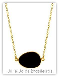 Colar em ouro 750/18k e ônix (750/18k gold necklace with onyx)