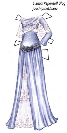 Mermaid Monday #5: Blue Seafoam Gown with Silver and Seaglass Girdle | Liana's Paper Dolls