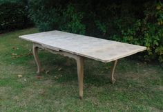 Large French Antique Bleached Oak Draw Leaf Dining Table