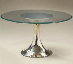 Julian Chichester Dining Table - love the hammered polished nickel base.