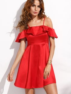 Shop Red Cold Shoulder Fold Over Ruffle A Line Dress online. SheIn offers Red Cold Shoulder Fold Over Ruffle A Line Dress & more to fit your fashionable needs.