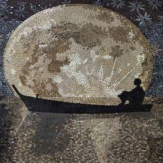 Man gazing at the moon #mosaic #mozaico #mosaicart #landsc… | Flickr