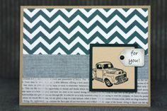 Handmade Masculine Birthday Card - Father's Day Card - Truck For You Card - Chevron Charcoal Gray Beige Tan