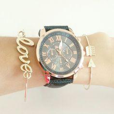 *Reloj negro promoción $120 Pulsera love y flecha $40   #astromelia #accesorios #meencanta