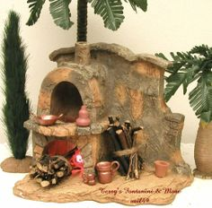 """FONTANINI ITALY 5"""" LITED STONE FIREPLACE/OVEN NATIVITY VILLAGE w/10 ACCESS 94887"""