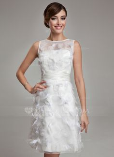 [US$ 192.98] Sheath/Column Scoop Neck Knee-Length Satin Organza Wedding Dress With Feather