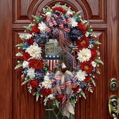 PATRIOTIC USA AMERICANA EAGLE WREATH~FOURTH OF JULY 4TH DECORATION~FLAG BOWS