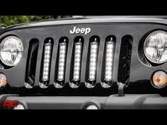 Installing Jeep Wrangler JK Vertical LED Light Bar Grille Mount by Rough Country - Jeep Wrangler Light Bar, 2014 Jeep Wrangler, Jeep Jk, Jeep Wrangler Accessories, Jeep Accessories, Jeep Light Bar, Jeep Lights, Jeep Grill, Jeep Commander