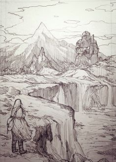 By evankart Middle-earth traveler A legend of Dwarf kingdom. No one lives here anymore. My Dwarves and Elves Landscape Sketch, Landscape Drawings, Fantasy Landscape, Landscape Art, Environment Sketch, Drawing Scenery, Environmental Art, Dark Fantasy Art, Art Drawings Sketches