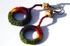 Rainbow Crocheted  Ring Earrings Natural Tree Branch by GeekeryDOO,