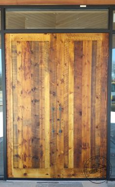 Double doors made in a single panel design made from reclaimed lumber. Wood, Solid Wood Doors, Reclaimed Doors, Home N Decor, Wood Doors, Solid Wood, Custom Wood, Reclaimed Lumber, Doors