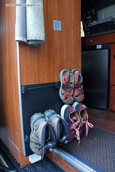 Roadtrek Modifications/ Mods, RV Upgrades /Modificatios, Campgrounds, Class B Mods / Modifications.: Wall Mounted Shoe Storage Rack for Roadtrek Agile. - Tap The Link Now To Find Gadgets for Survival and Outdoor Camping Camper Hacks, Rv Hacks, Caravan Hacks, Life Hacks, Hacks Diy, Life Tips, Camping Storage, Rv Storage, Caravan Storage Ideas