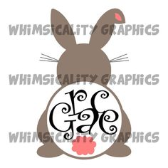 Digital File - Easter Bunny Booty and Cotton Tail For Monogram with SVG, DXF, PNG Commercial & Personal Use