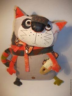 Купить Василь - рыжий, текстильная игрушка, подарок, кот, полосатый кот, кот с рыбой