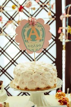 shabby chic bird baby shower ideas via babyshowerideas4u baby shower cake