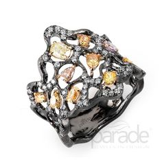 Natural Fancy Color Diamonds Pop From A Free-Form Web Of Matte Finished 18K Black Gold In This Gothic-Inspired Band From The Reverie Noir Collection by Parade Design