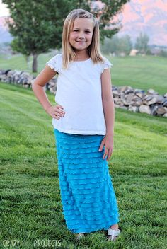 Easy Girl's Ruffle Maxi Skirt Tutorial.......can be made for big girls as well.  Super easy sew two seams!