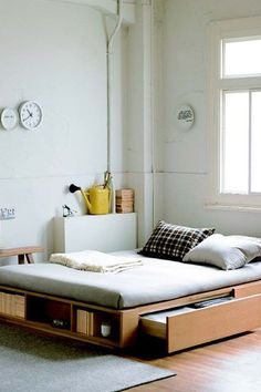 15 Products That Will Make Your Tiny Space Feel HUGE  #refinery29  http://www.refinery29.com/best-space-saving-furniture#slide-1  A bed that has shelves and drawers underneath is essential.Muji Storage Bed, $494, available at Muji....