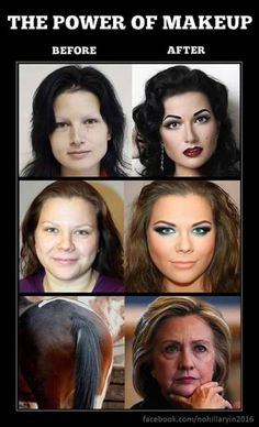 The power of makeup is wild as these before and after make up pictures show us. It is amazing what you can do with a horses ass. Funny Quotes, Funny Memes, Hilarious, Sarcastic Quotes, Memes Humor, Donald Trump, Makeup Before And After, The Knowing, Power Of Makeup