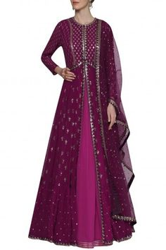 Vvani by Vani Vats Featuring a plum anarkali in georgette base. It is paired with wine front open jacket and dupatta with sequins hand embroidery.