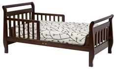 Espresso Wood Low Height Sleigh Toddler Bed Non Toxic Finish Davinci Pine Wood #DaVinci