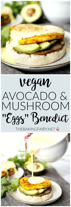 This rich and delicious Vegan Avocado & Mushroom Eggs Benedict is made with tofu in lieu of eggs, and topped with an irresistibly creamy hollandaise sauce. High Protein Vegan Recipes, Delicious Vegan Recipes, Raw Food Recipes, Veggie Recipes, Appetizer Recipes, Vegetarian Recipes, Healthy Recipes, Vegan Recepies, Vegan Nutrition