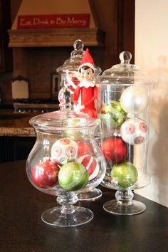 Love these glass containers with big Christmas balls!  I usually do balls, but haven't done fun patterened ones like this before!  HMMM...great idea!