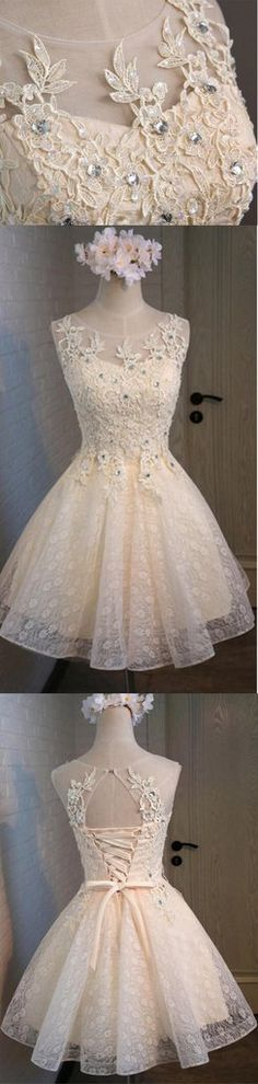 Lace Beaded Cute Homecoming Prom Dresses, Affordable Short Party Prom – SposaDesses