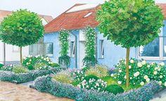 Durch symmetrisch angelegte und bepflanzte Beete entsteht bei dieser Fläche vor einem Doppelhaus ein sehr harmonischer Gesamteindruck