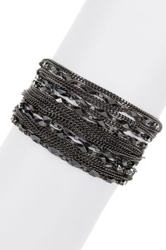 Multi-Chain & Leather Snap Bracelet by 14th & Union on @nordstrom_rack