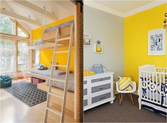 yellow accent wall and gray decorations in the nursery - Wall Design